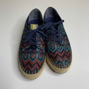 INDIGO Rd Lace Up Basket Weave Sneakers Blue 9